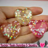 CONFETTI STAR HEARTS Flatback Resin Decoden Cabochons (6 pieces) - Rockin Resin  - 2