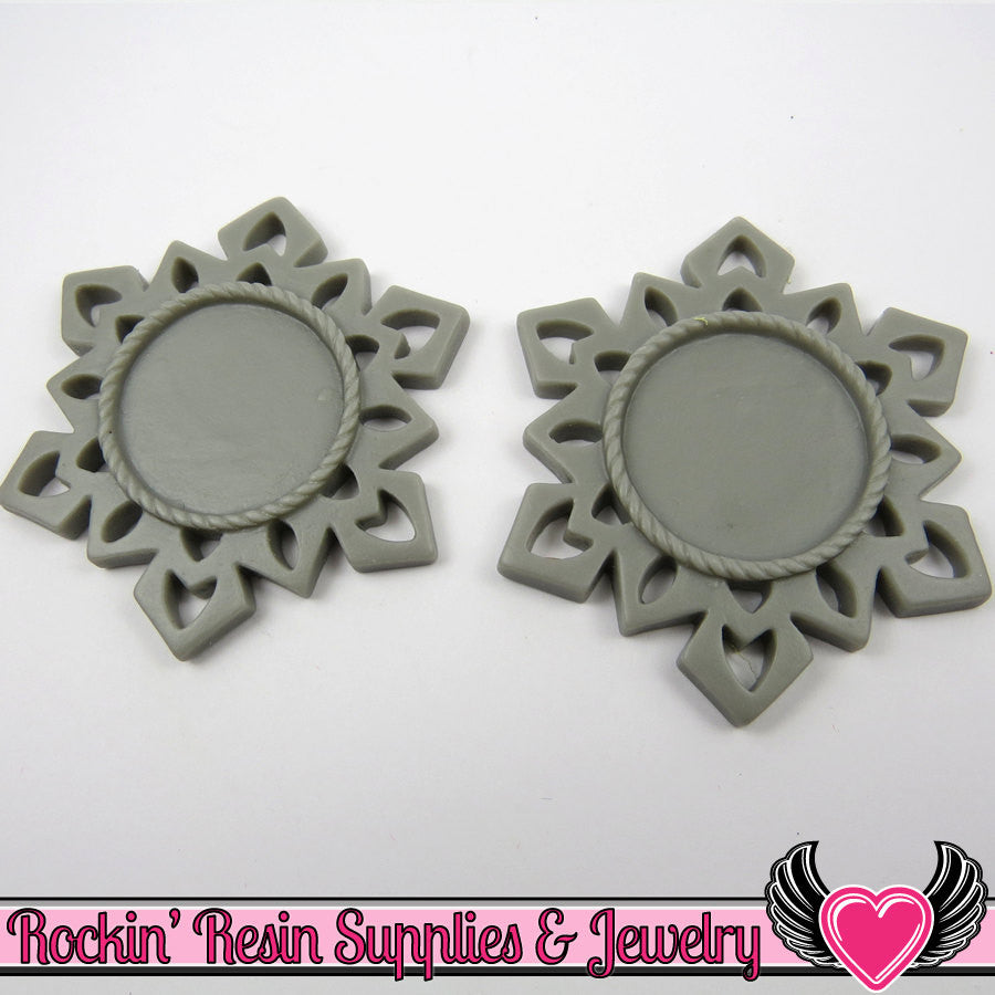 SNOWFLAKE STAR CAMEO SeTTING Gray 4pc Fits 25mm Cameos