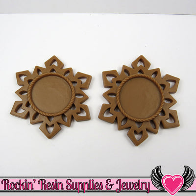 SNOWFLAKE STAR CAMEO SeTTING Brown 4pc Fits 25mm Round Cameos - Rockin Resin  - 1