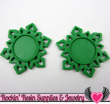 SNOWFLAKE STAR CAMEO SeTTING Green 4pc Fits 25mm Round Cameos - Rockin Resin  - 1