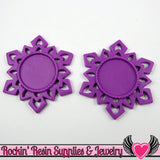 SNOWFLAKE STAR CAMEO SeTTING Purple 4pc Fits 25mm Cameos - Rockin Resin  - 1