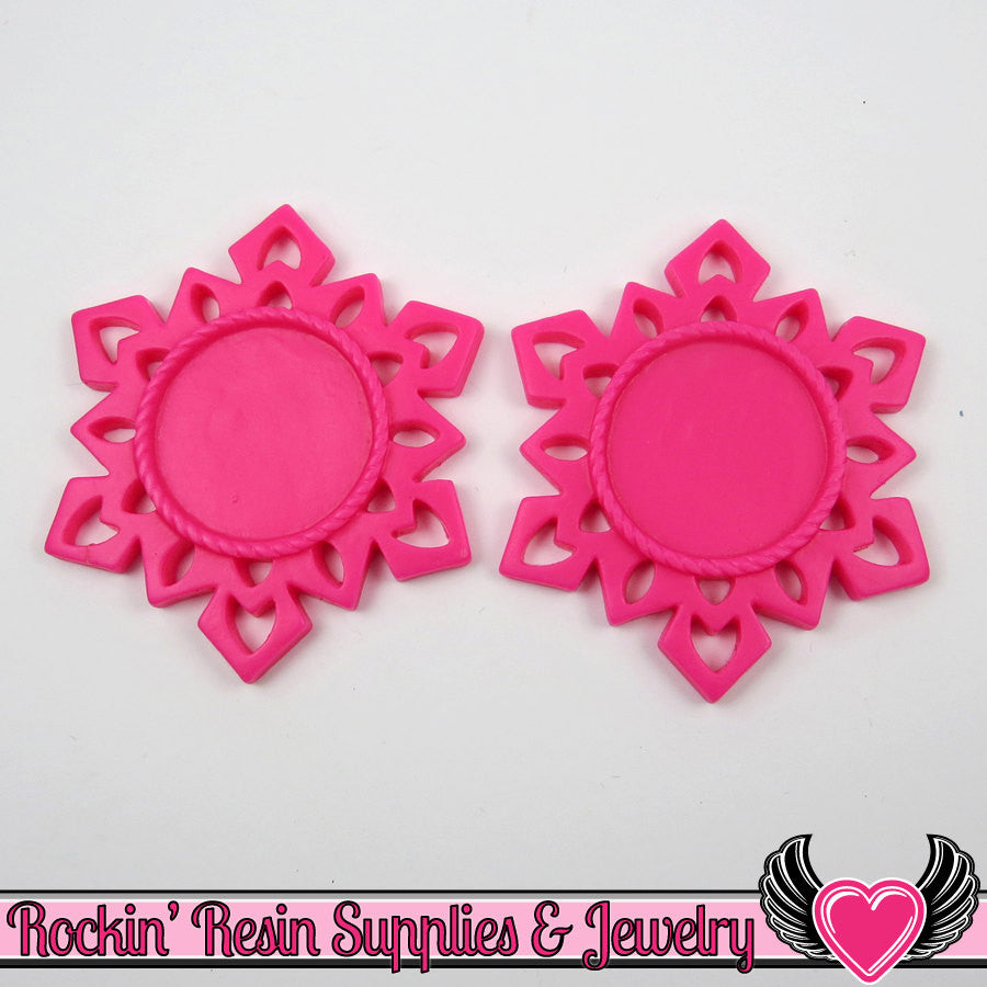 SNOWFLAKE STAR CAMEO SeTTING Hot Pink 4pc Fits 25mm Cameos