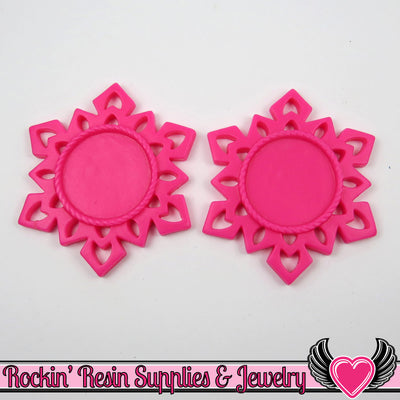 SNOWFLAKE STAR CAMEO SeTTING Hot Pink 4pc Fits 25mm Cameos - Rockin Resin  - 1