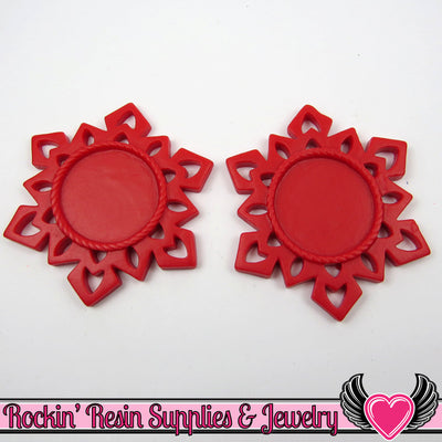 SNOWFLAKE STAR CAMEO SeTTING Red 4pc Fits 25mm Round Cameos - Rockin Resin  - 1