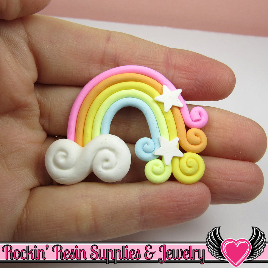 Large Polymer Clay RAINBOW Decoden Clay Cabochon 2 pc 50x36mm - Rockin Resin  - 1