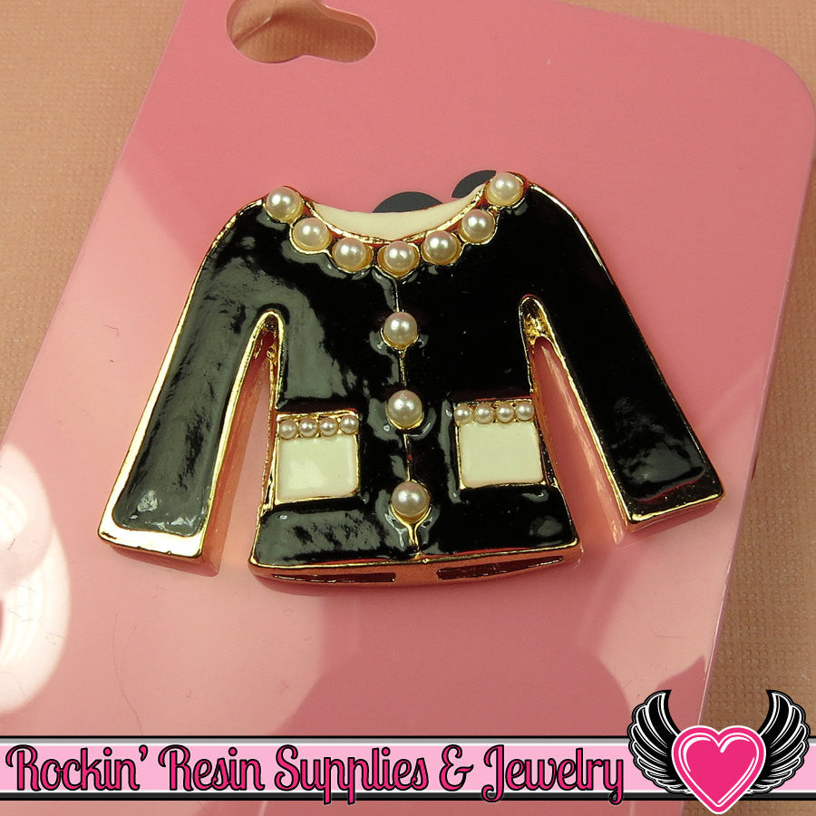 XL Black PEARL BLOUSE Girly Flatback Decoden Cabochon 49x35mm