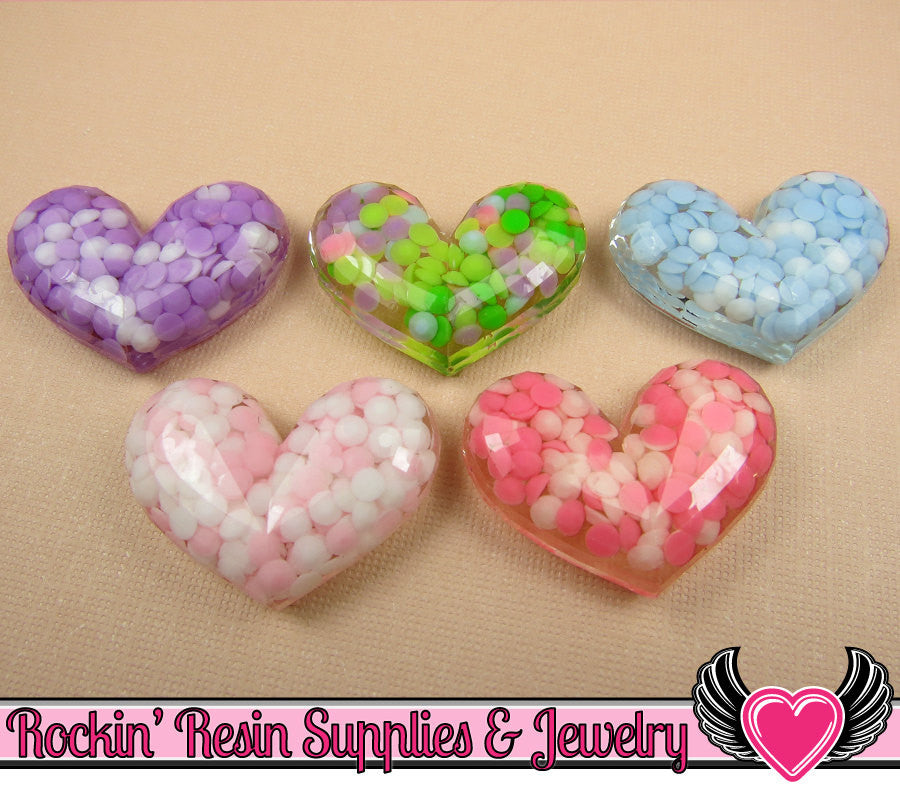 5pc Clear FACETED HEARTS Rhinestones Inside Resin Decoden Kawaii Cabochons 23x31mm
