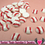 10 pcs 10mm Tiny BASEBALL Sports Resin Flatback Decoden Cabochons - Rockin Resin  - 2