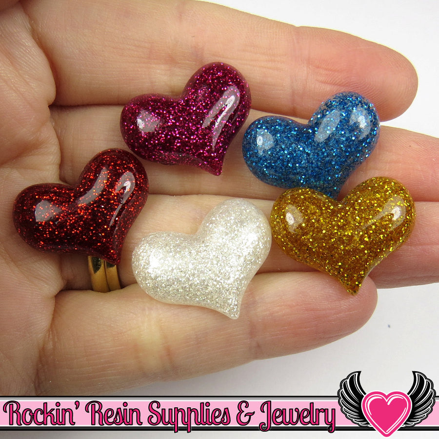 5 pcs GLITTER HEARTS Resin Decoden Flatback Kawaii Cabochons 22 x 18mm - Rockin Resin