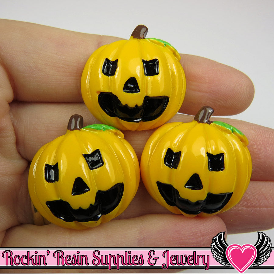 4 pcs JACKOLANTERN Pumpkin Halloween Resin Flatback Decoden Cabochons 26x26mm - Rockin Resin