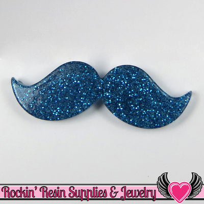 5pc Blue GLITTER HANDLEBAR MUSTACHE Resin Flatback Cabochon 42x14mm - Rockin Resin  - 1