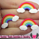 5 pc Polymer Clay RAINBOW with Clouds Decoden Clay Kawaii Cabochons - Rockin Resin