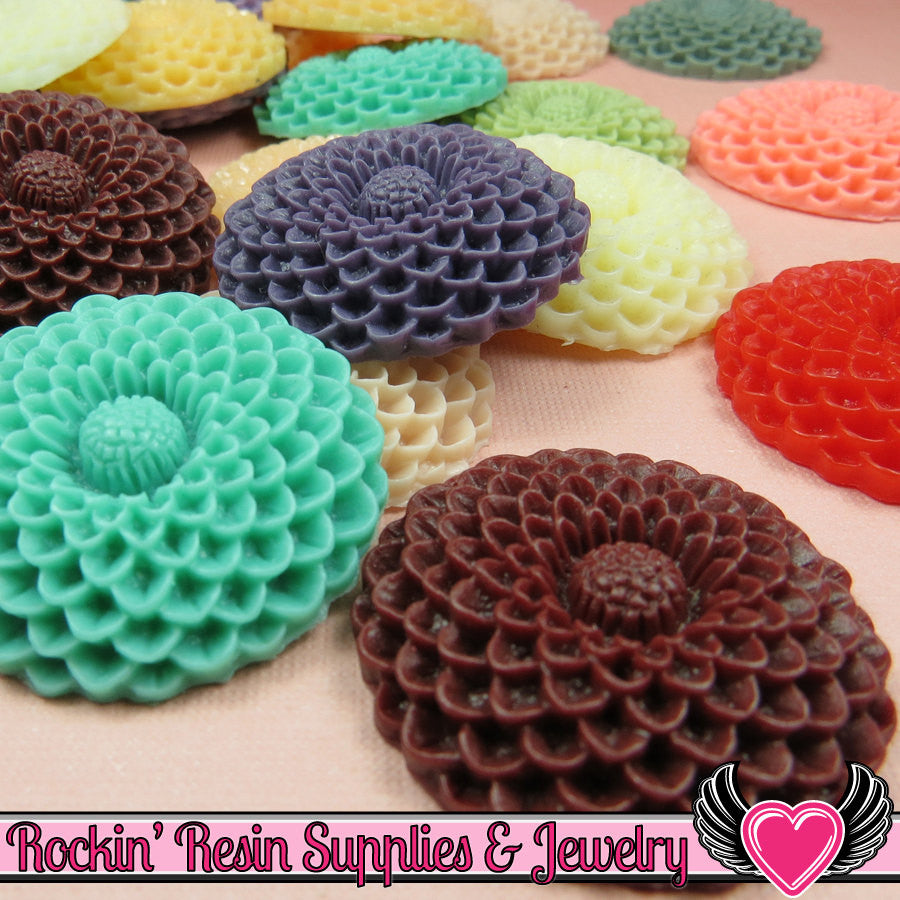 35mm Mum or Dahlia Flower Resin Cabochons (4 pieces)