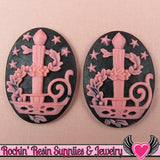 B-Grade 4pc Black & Pink Candle Stick CHRISTMAS Cameos 30x40mm - Rockin Resin