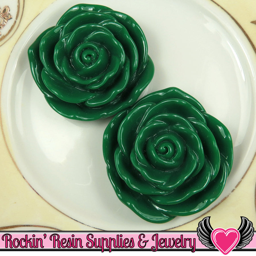 JUMBO ROSE BEADS 45mm Dark Green 2 Pieces