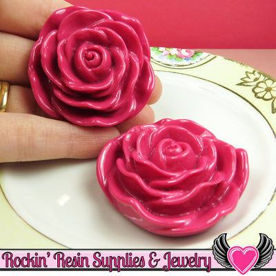 JUMBO ROSE BEADS 45mm Bright Fuchsia Pink 2 Pieces - Rockin Resin  - 1