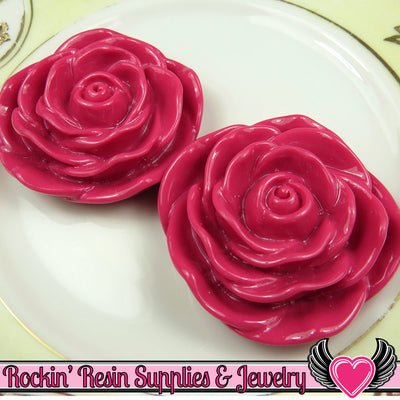 JUMBO ROSE BEADS 45mm Fuchsia Pink 2 Pieces - Rockin Resin  - 1