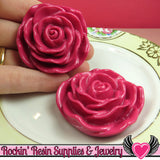JUMBO ROSE BEADS 45mm Fuchsia Pink 2 Pieces - Rockin Resin  - 3