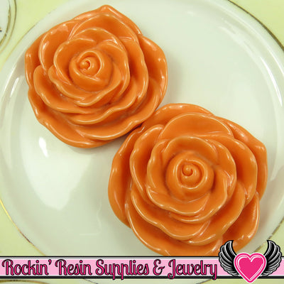 JUMBO ROSE BEADS 45mm Peach 2 Pieces - Rockin Resin  - 1