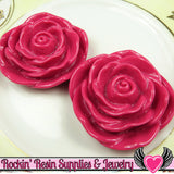 JUMBO ROSE BEADS 45mm Bright Fuchsia Pink 2 Pieces - Rockin Resin  - 3