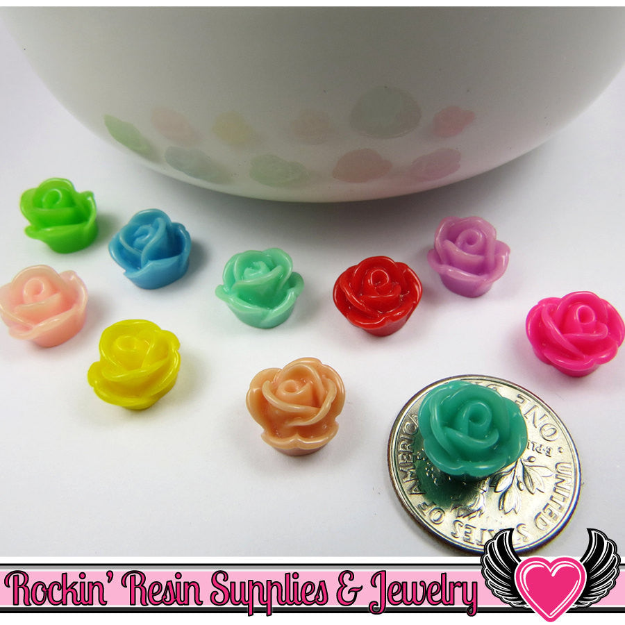 9mm Resin FLOWER CABOCHONS Assorted Colors