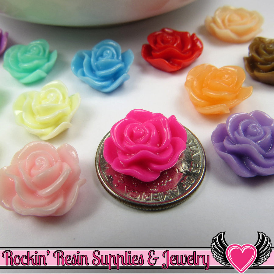 13mm Resin Rose FLOWER CABOCHONS Assorted Colors