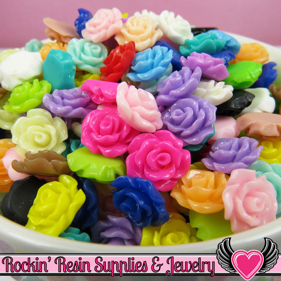 11mm Resin ROSE CABOCHONS Assorted Colors