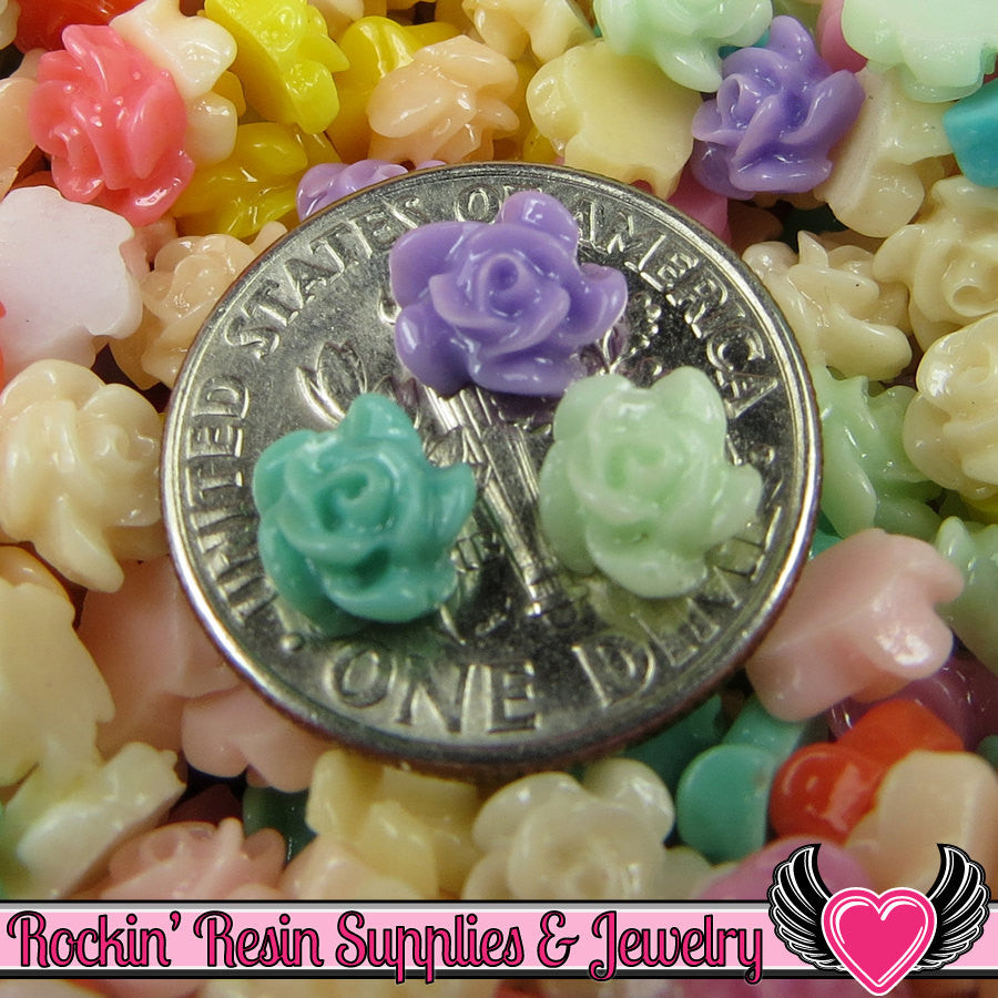 20 pcs Tiny Resin Rose Flower Nail Art Resin Flatback Cabochon 6x3mm