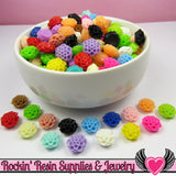 10mm Resin Chrysanthemum FLOWER CABOCHONS Assorted Colors - Rockin Resin  - 2