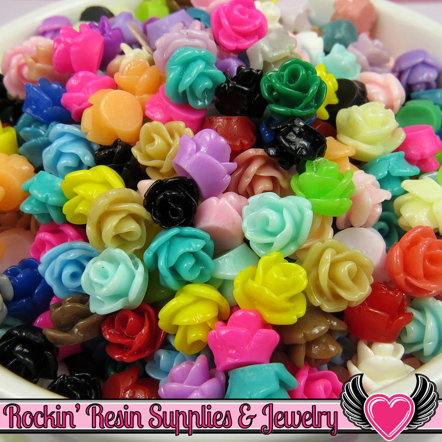 7mm Resin Rose FLOWER CABOCHONS Mixed - Rockin Resin  - 1