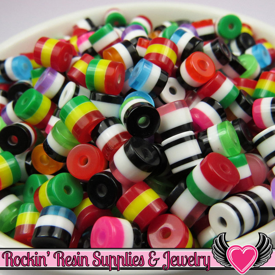 75 Striped 6mm Mixed Resin Column Beads - Rockin Resin  - 1