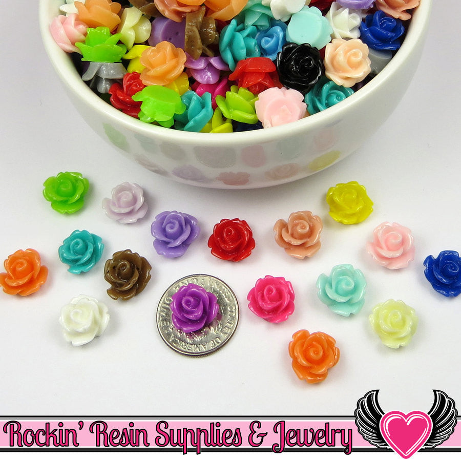 10mm Resin Flower ROSE CABOCHONS Mixed