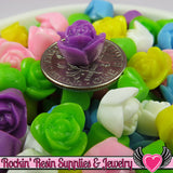 9 mm Resin Flower ROSE CABOCHONS Mixed - Rockin Resin  - 2