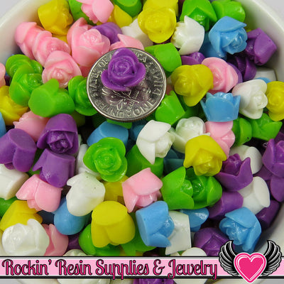 9 mm Resin Flower ROSE CABOCHONS Mixed - Rockin Resin  - 1