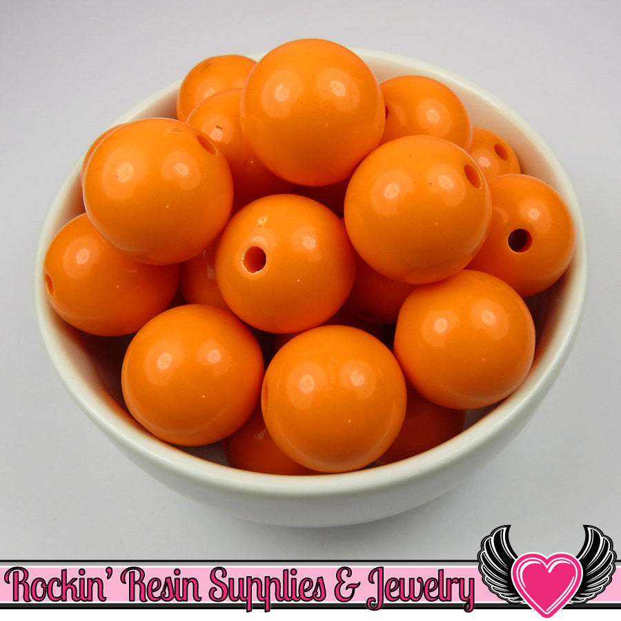 20mm Orange Round Acrylic Bubblegum Beads 10 pieces