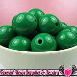 20mm Green Round Acrylic Bubblegum Beads 10 pieces - Rockin Resin  - 2