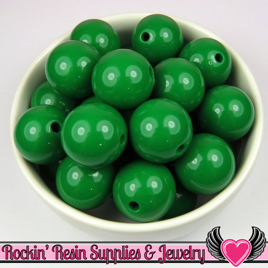 20mm Green Round Acrylic Bubblegum Beads 10 pieces