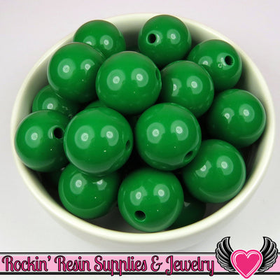 20mm Green Round Acrylic Bubblegum Beads 10 pieces - Rockin Resin  - 1