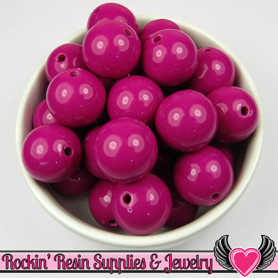 20mm Magenta Red Violet Round Acrylic Bubblegum Beads 10 pieces - Rockin Resin  - 1