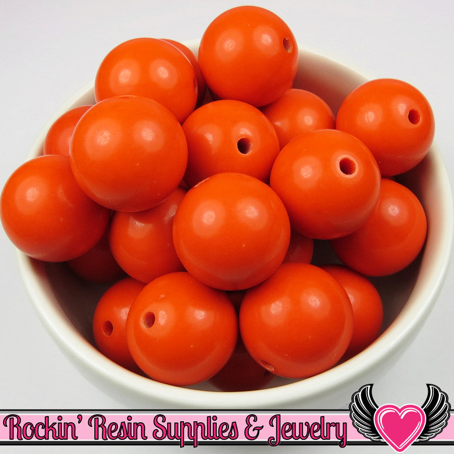 20mm Orange Red Round Acrylic Bubblegum Beads 10 pieces
