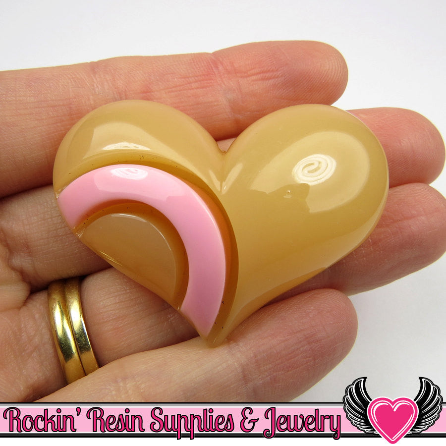 Jumbo Puffy Heart Cabochon Pink & Peach Resin Flatback Kawaii Cabochons (2 pieces)