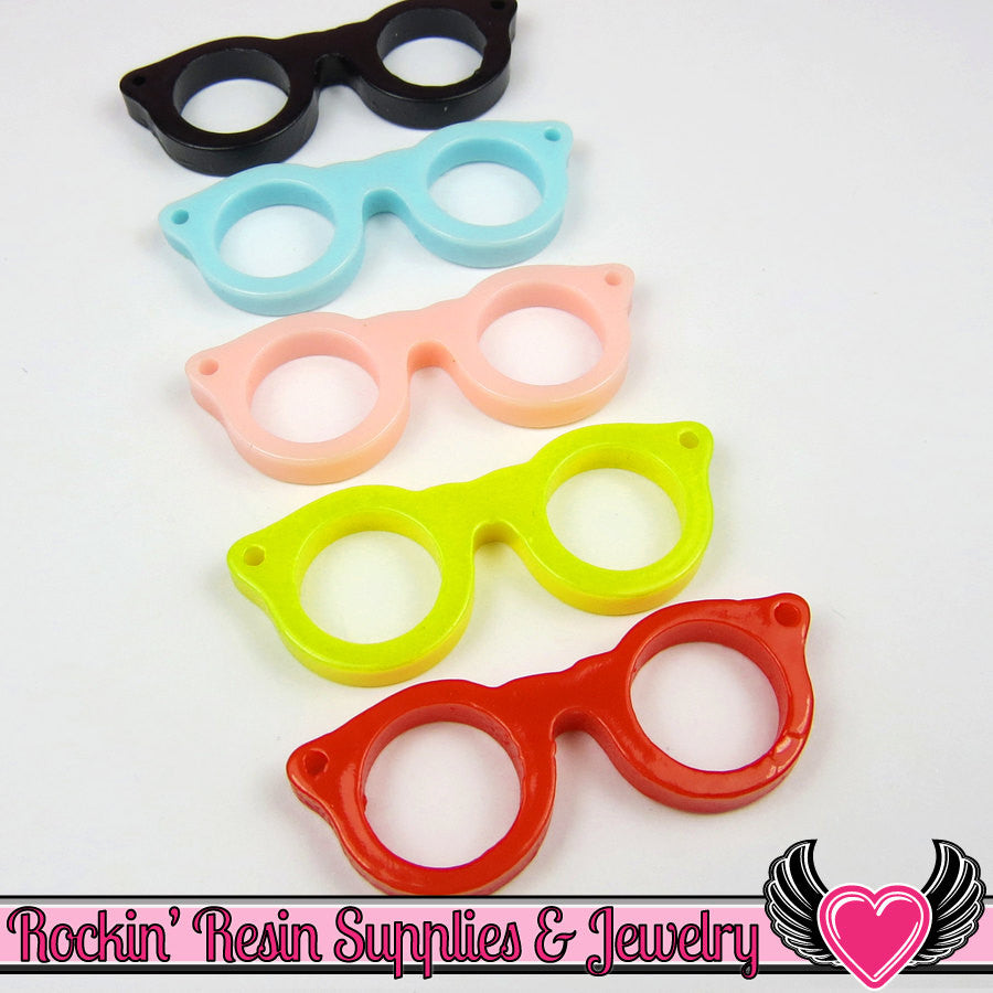 Geeky EYE GLASSES Resin Flatback Decoden Kawaii Cabochons 42x16mm (10 pieces) - Rockin Resin  - 1