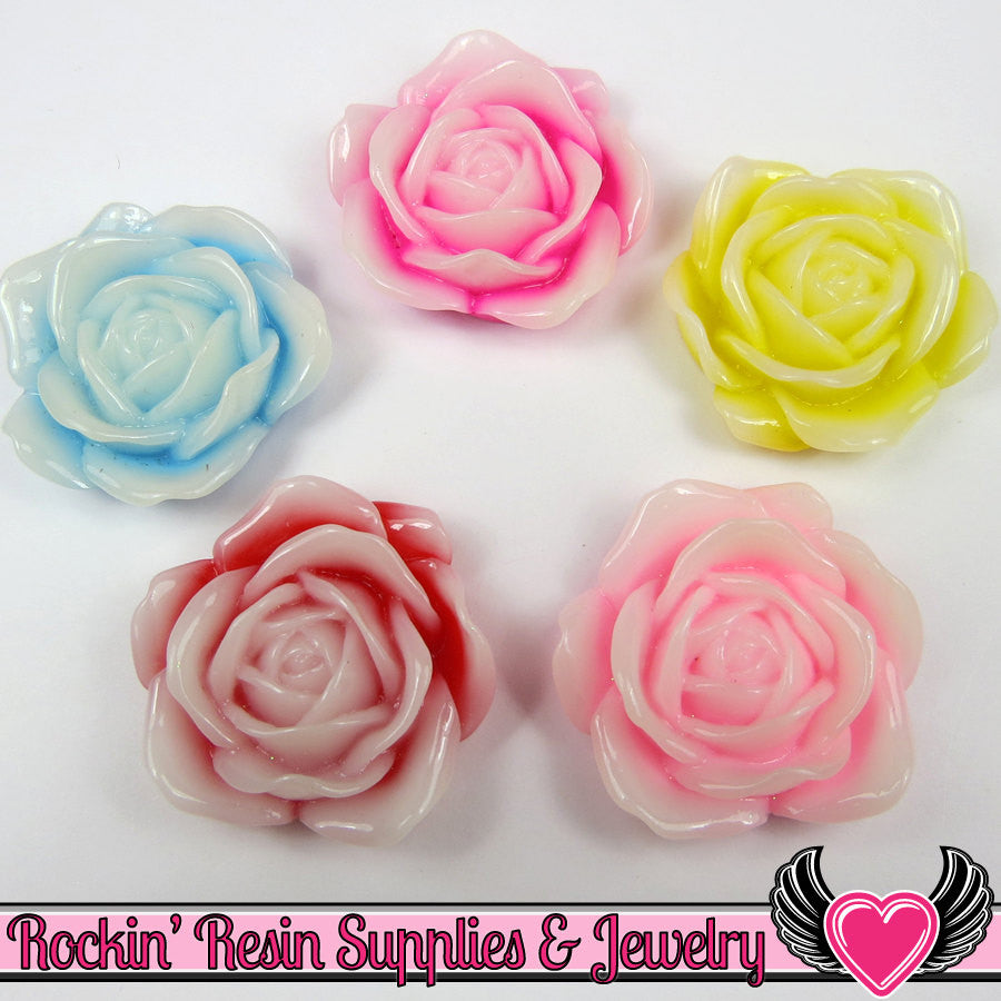 34mm 2-Tone ROSE Flower Cabochons (5 pieces) Decoden Flatback Kawaii Cabochons