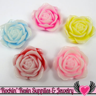 34mm 2-Tone ROSE Flower Cabochons (5 pieces) Decoden Flatback Kawaii Cabochons - Rockin Resin  - 1
