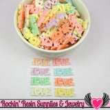 12pc PASTEL LOVE Small Word Decoden Flatback Kawaii Cabochons 24x11mm - Rockin Resin  - 2