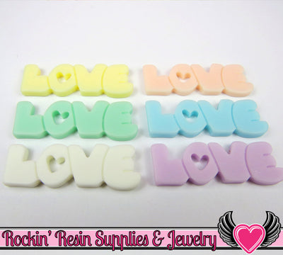 8 pc Pastel Heart Love Decoden Flatback Resin Cabochons 40x13mm - Rockin Resin  - 1