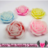 34mm 2-Tone ROSE Flower Cabochons (5 pieces) Decoden Flatback Kawaii Cabochons - Rockin Resin  - 2