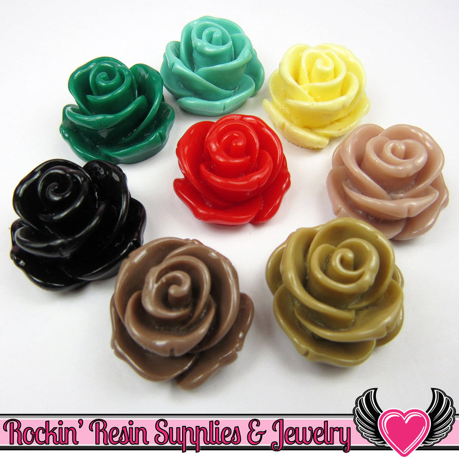 24mm Fall Mix ROSE CABOCHONS (6 pieces) Decoden Flatback Kawaii Cabochons