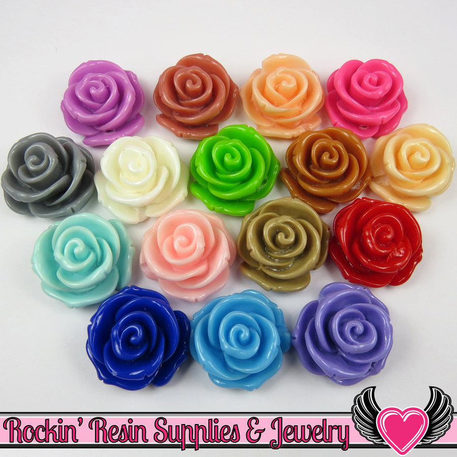24mm ROSE FLOWER BEADS (6 pieces) or Flatback Flower Cabochons - Rockin Resin  - 1