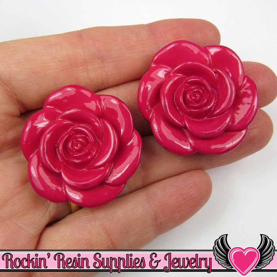 33mm Fuchsia Pink ROSE FLOWER BEADS (5 pieces)